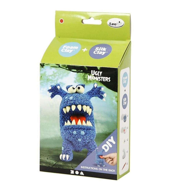 Kit monstru albastru - din plastilină Foam Clay și Silk Clay
