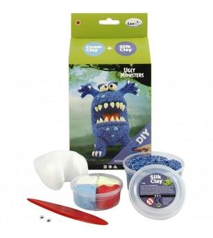 Kit monstru albastru - din plastilina Foam Clay si Silk Clay - Crafturi