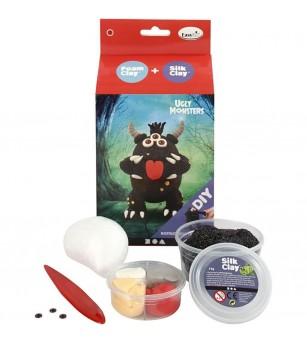 Kit monstru negru - din plastilina Foam Clay si Silk Clay - Crafturi