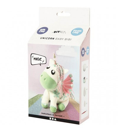 Kit unicorn Baby Bibi - din plastilina Foam Clay si Silk Clay