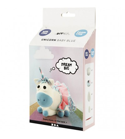 Kit unicorn Baby Blue - din plastilina Foam Clay si Silk Clay