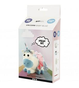 Kit unicorn Baby Blue din plastilina Foam Clay si Silk Clay - Crafturi