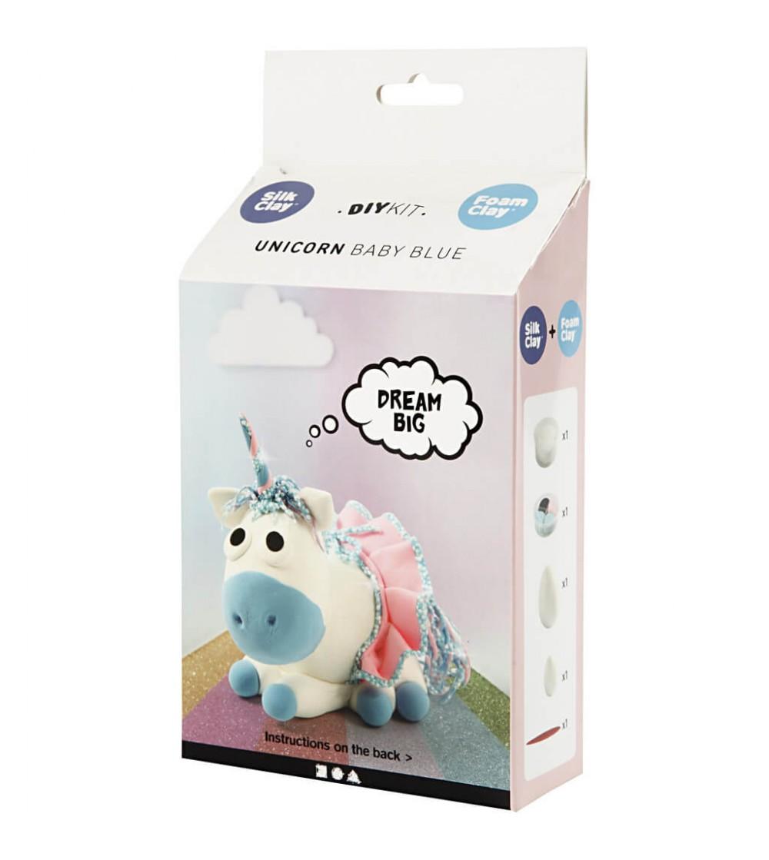 Kit unicorn Baby Blue din plastilina Foam Clay si Silk Clay - Plastilină și modelare