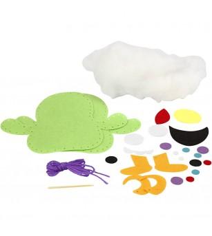 Set creativ - Kit din fetru DIY - Monstruleț Fuzzy - Lucru manual