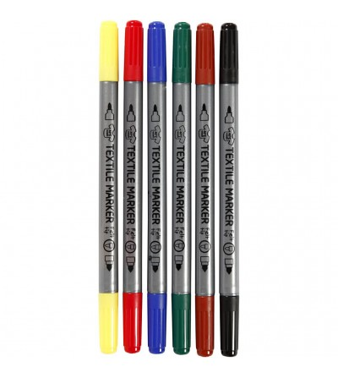 Set markere textile cu doua capete - culori standard - Crafturi