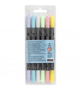 Set markere textile cu doua capete - culori pastel - Crafturi