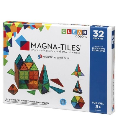 Set magnetic Magna-Tiles Clear Colors - 32 piese - Jucarii magnetice